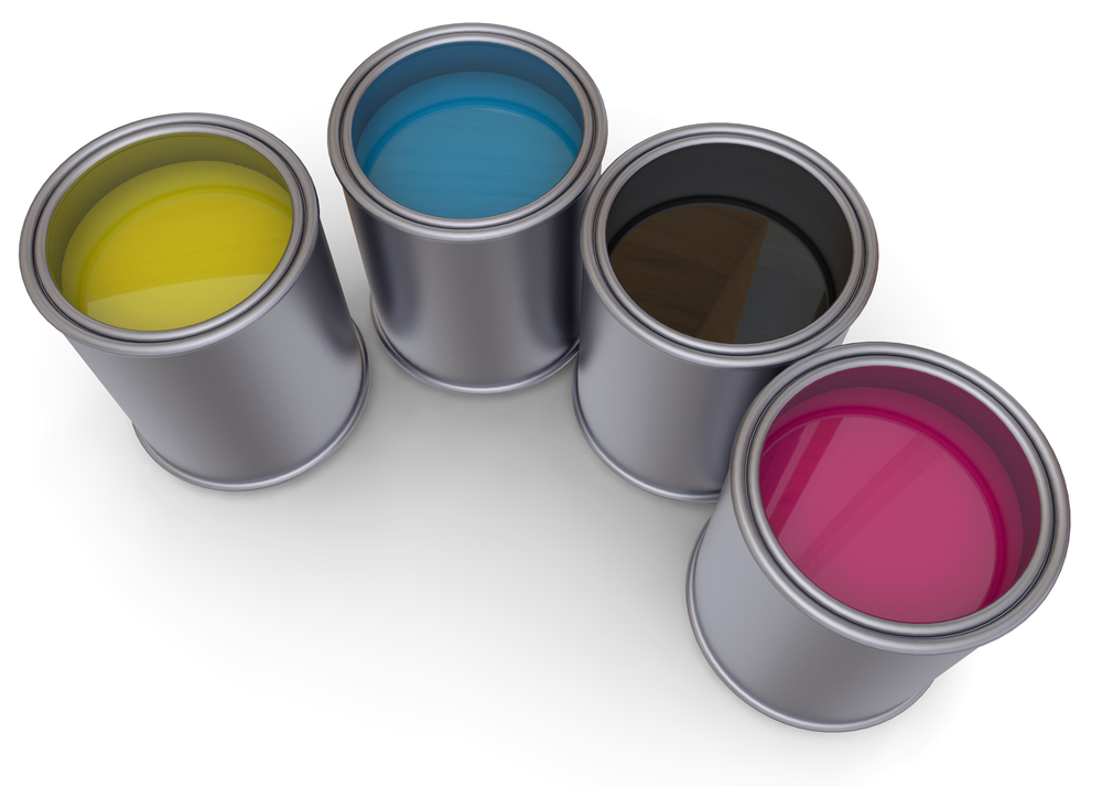 Paint pots of CMYK print color. Source: McCarony/Shutterstock.com