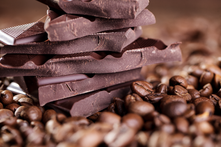 Chocolate and coffee beans. Source: Nailia Schwarz/Shutterstock.com