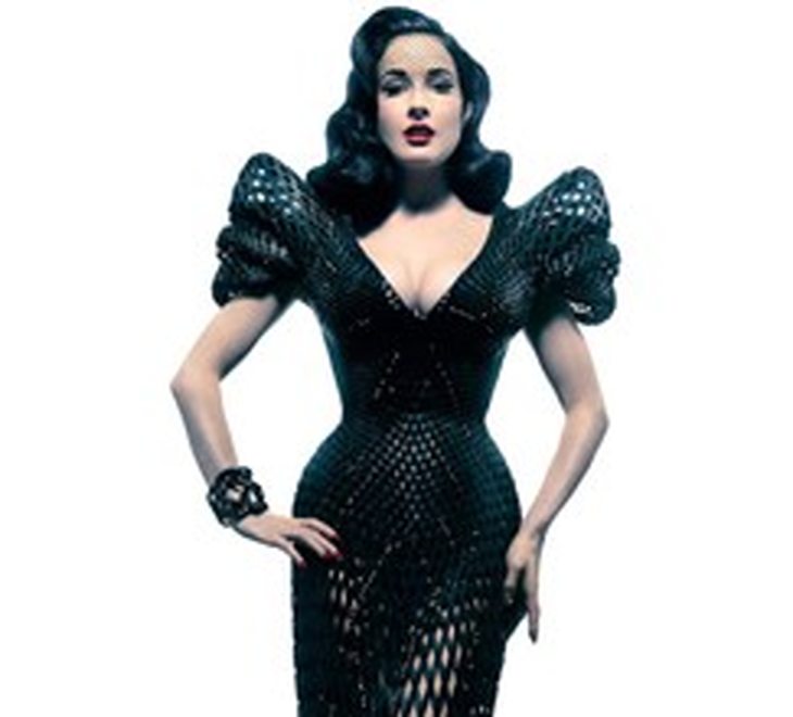 Dita von Teese wearing a 3D printed dress designed by  Michael Schmidt and Francis Bitonti. Source: http://www.prweb.com/releases/2013/7/prweb10963335.htm