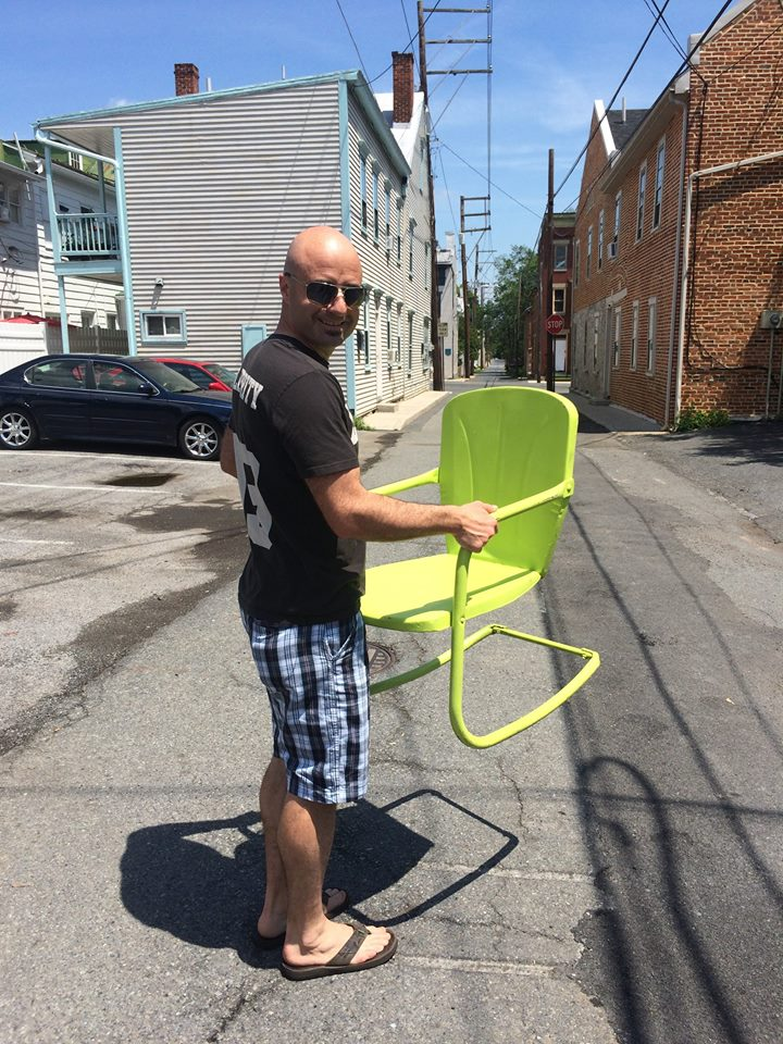 Bender was excited to purchase this metal chair