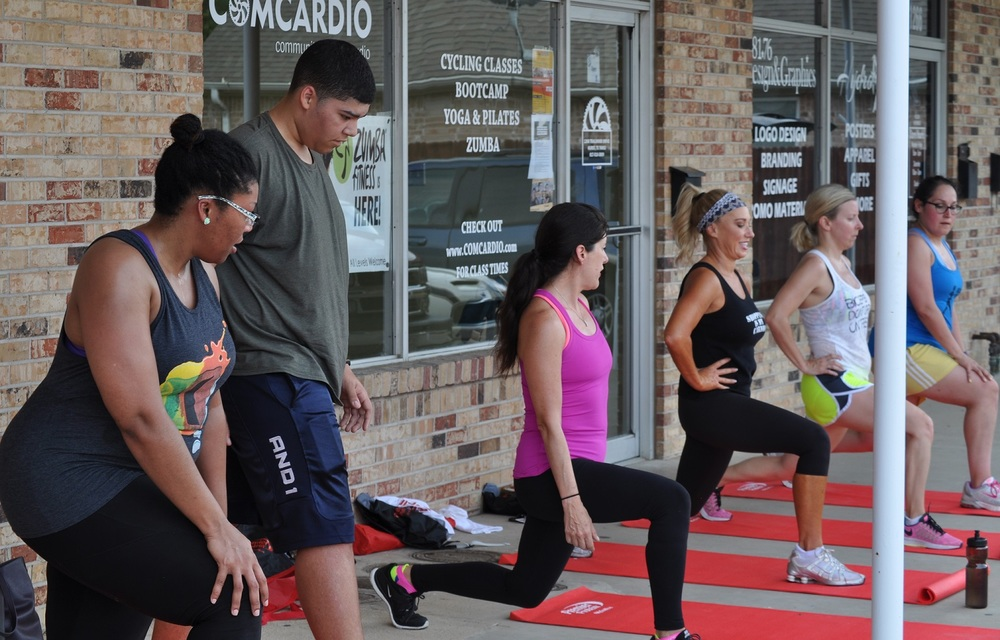 Demonstrating the next boot camp circuit at ComCardio, TX