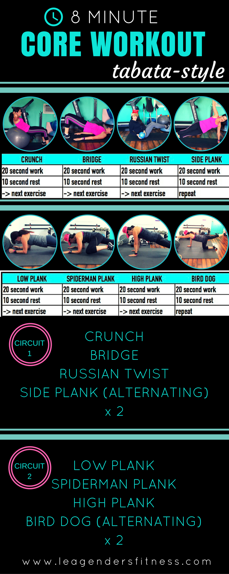 8 Minute Tabata Style Core Workout Lea Genders Fitness Workouts Timers For Hiit And Circuit Training Are Included