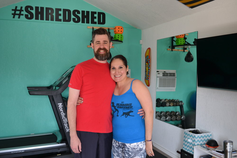 Cathy representing with her Running with Ollie shirt in the #shredshed!