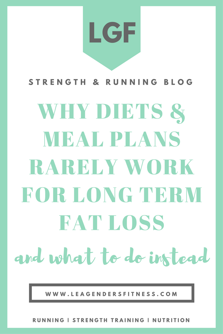 Why Diets & Meal Plans Rarely Work for Long Term Fat loss and What to Do Instead. Save to Pinterest for Later!