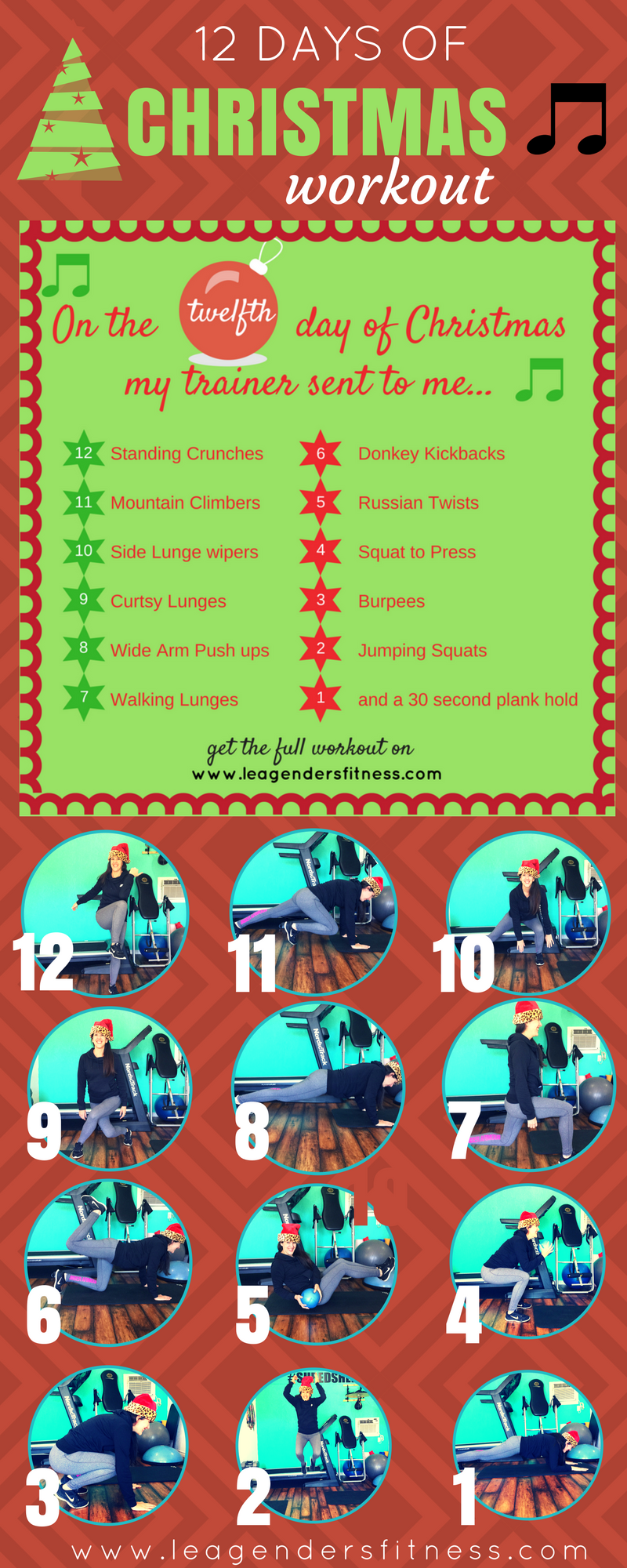 The 12 Days of Christmas holiday-themed workout. Save to Pinterest for later!