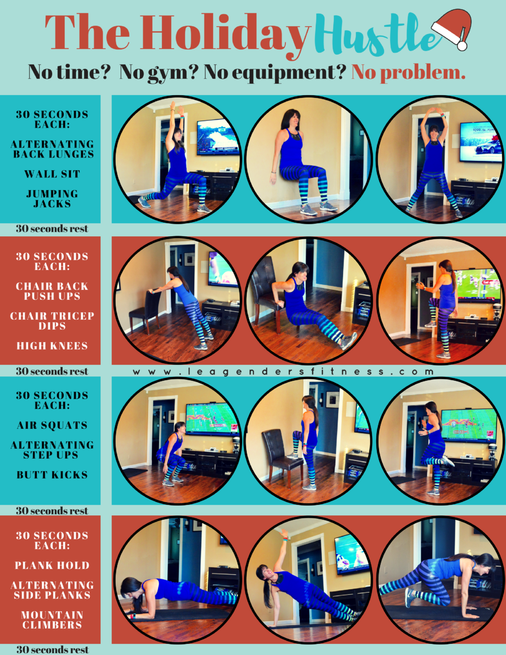 The Holiday Hustle No Equipment No Excuses Workout. Download a printable PDF of this workout. Save to Pinterest for later.