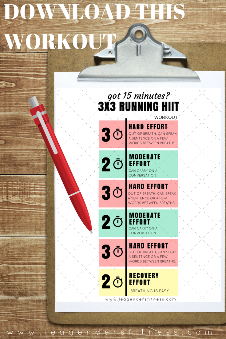 download a printable PDF of the 3x3 running HIIT workout or save to Pinterest for later.