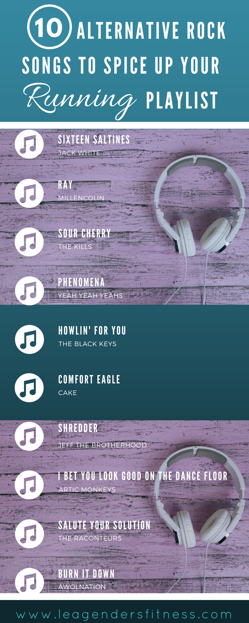 10 alternative rock songs to spice up your running playlist. Save to pinterest for later.