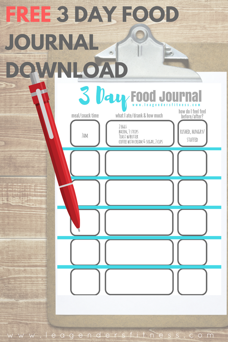Three day food journal printable PDF download. Save to Pinterest for later