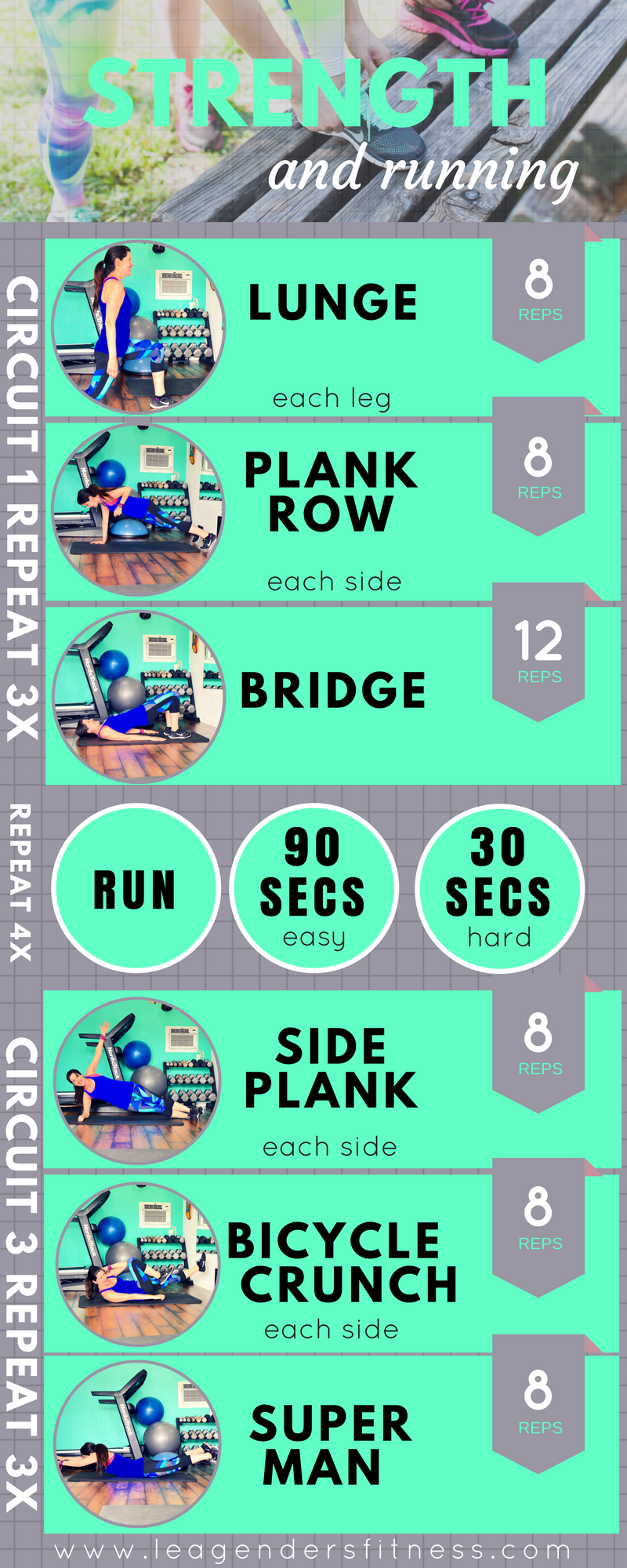 strength and running workout. Free PDF printable download. Save to Pinterest for later