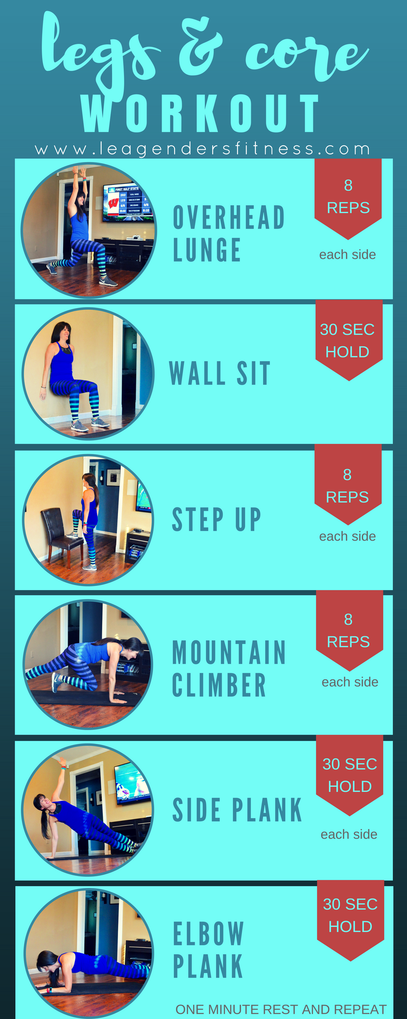 6 moves leg and core home workout. Save to your favorite Pinterest exercise board for later.