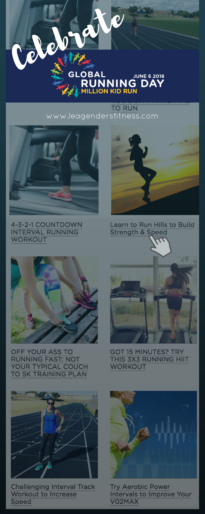 celebrate global running day with these running workouts. Save to your favorite Pinterest board for later.