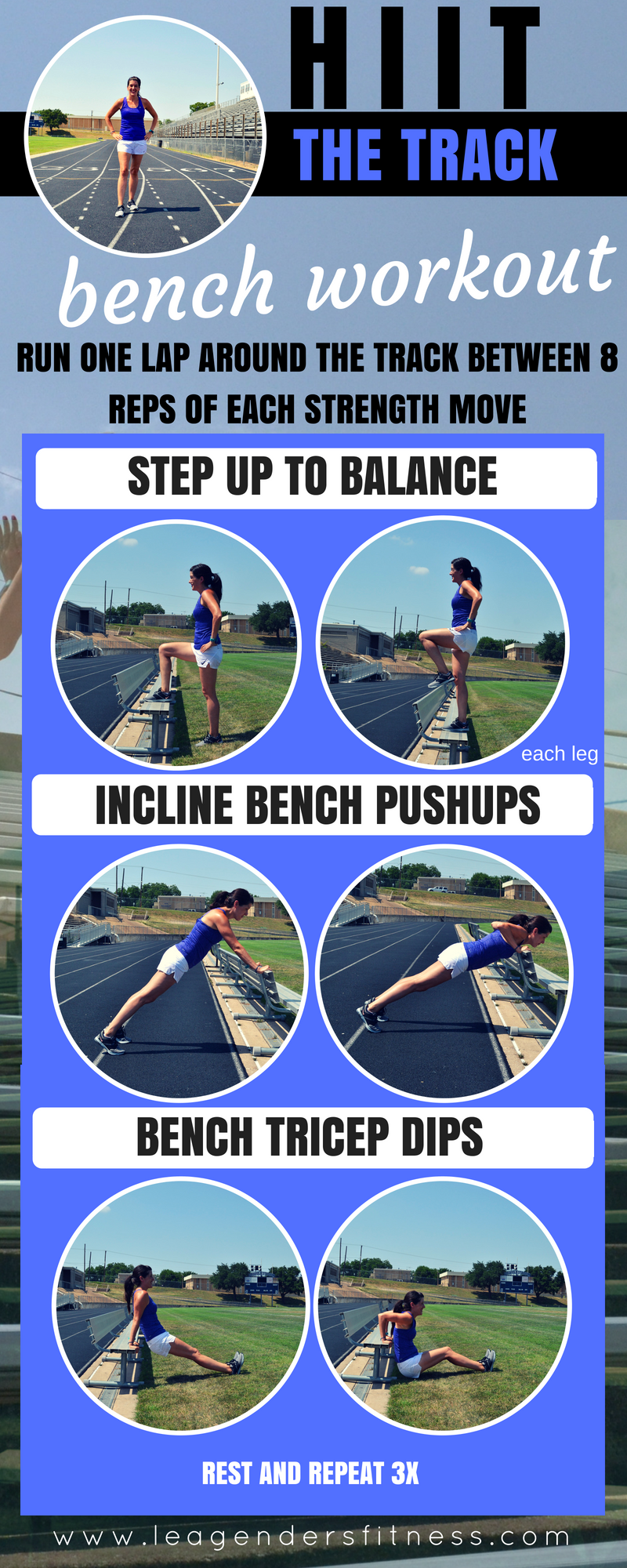 HIIT THE TRACK BENCH WORKOUT. SAVE TO YOUR FAVORITE PINTEREST BOARD FOR LATER.