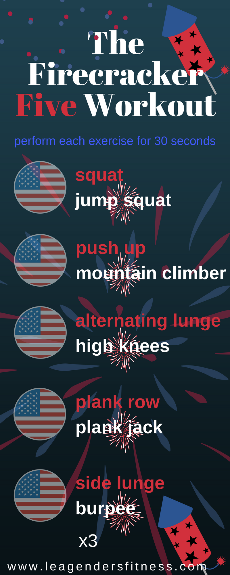 The firecracker five workout. Save to your favorite Pinterest workout board for later.