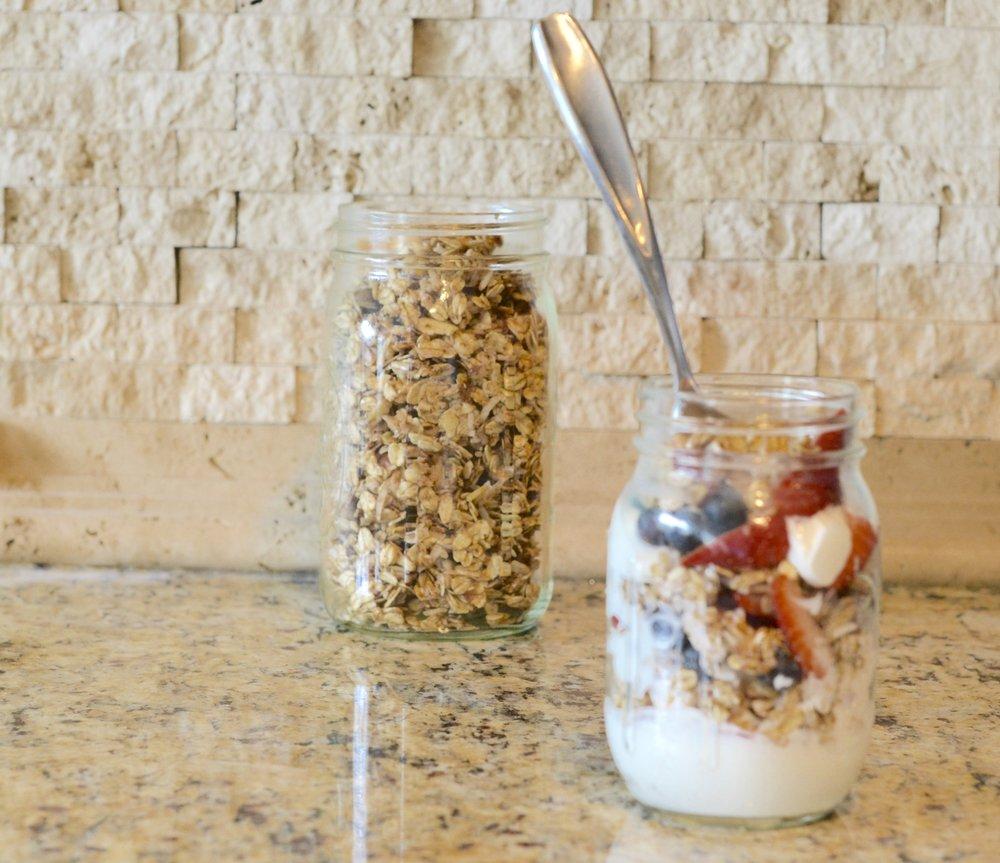 homemade granola and yogurt jars.