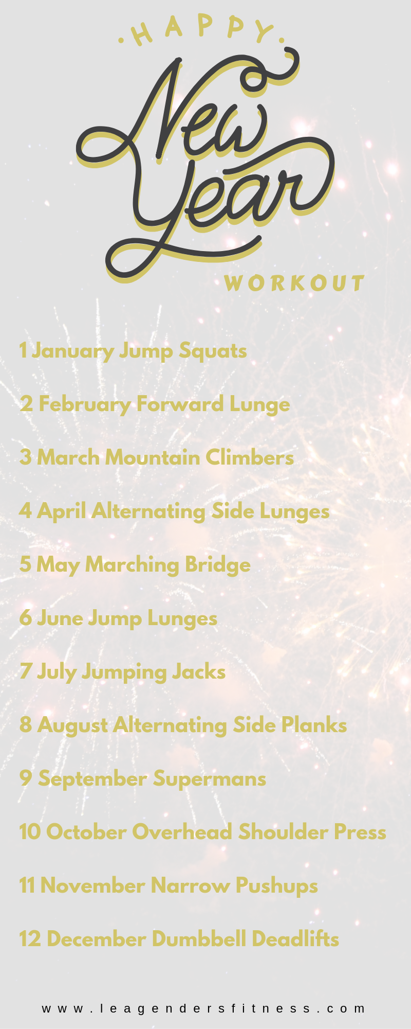 A new Year's-themed workout for all fitness levels. Pin to your favorite workout board for later.