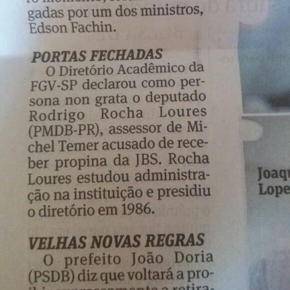 Deputado acusado de receber propina vira persona non grata na FGV-SP (Folha de São Paulo - 29/05/2017) - Clique aqui para ler a notícia completa