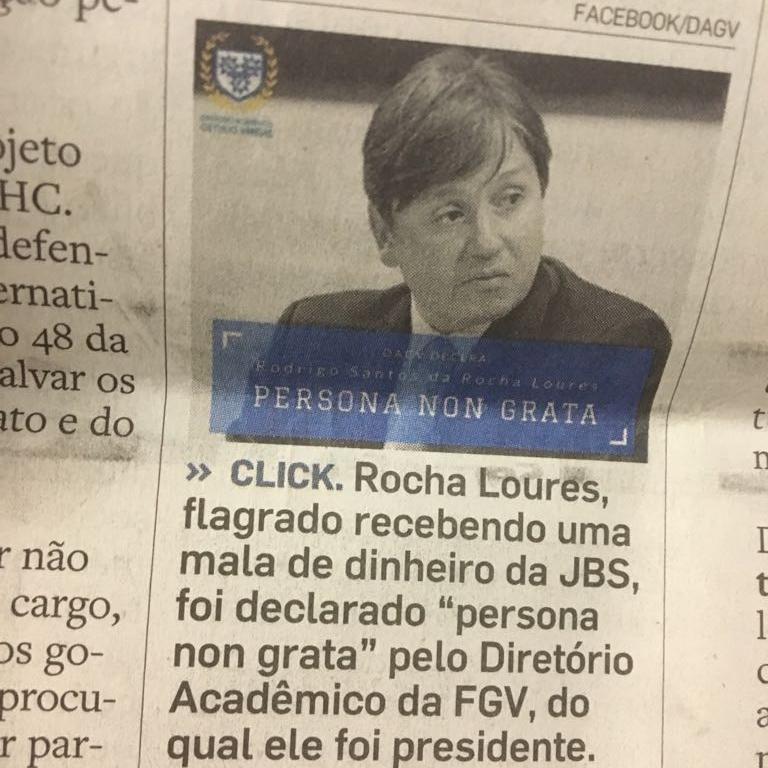 CLICK: Rocha Loures vira 'persona non grata' em Diretório Acadêmico da FGV(Estado de São Paulo - 28/05/2017) - Clique aqui para ler a notícia completa