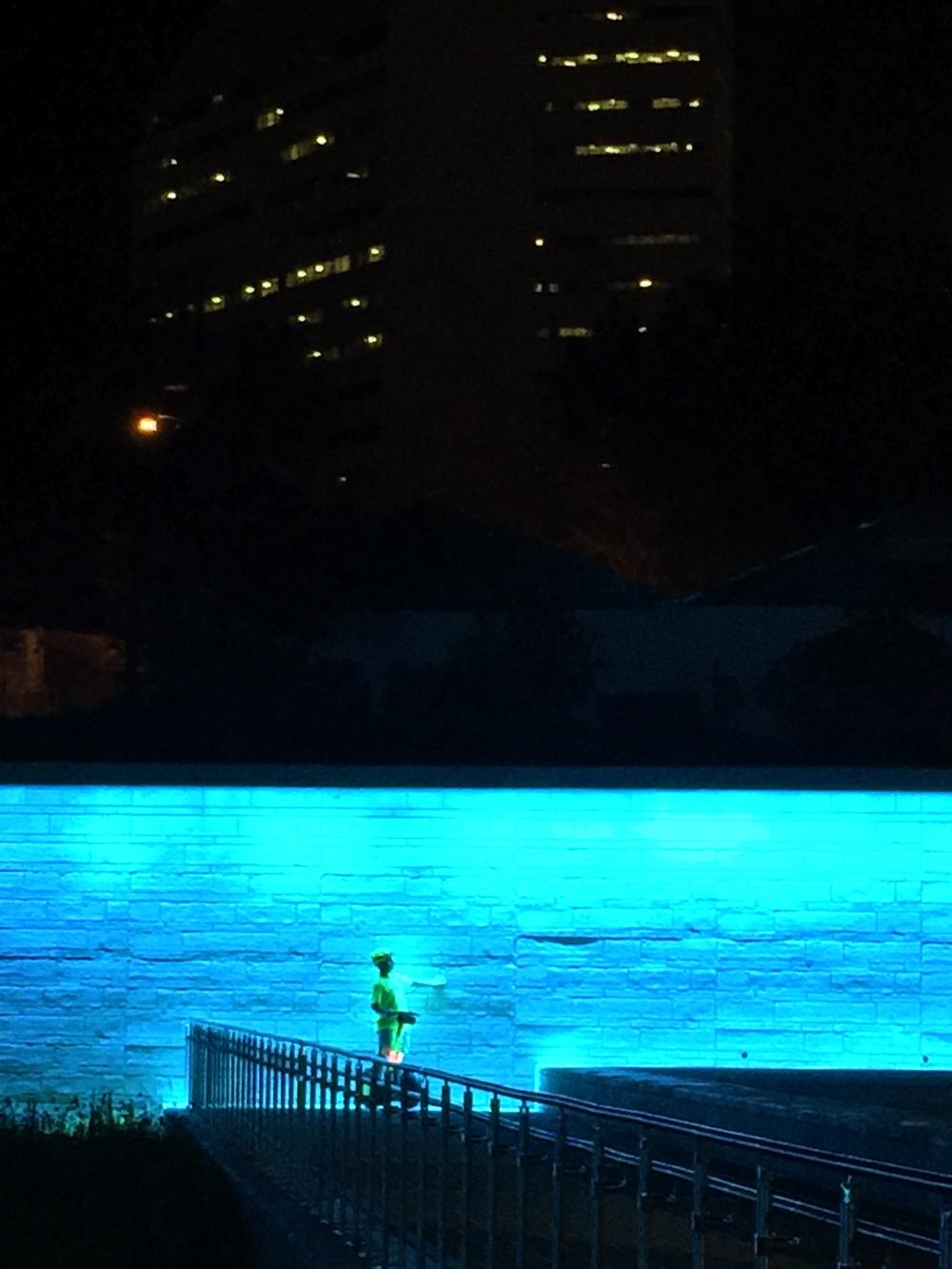 The Department of Education Building (DOE) appears to loom over Lake Anita at night.