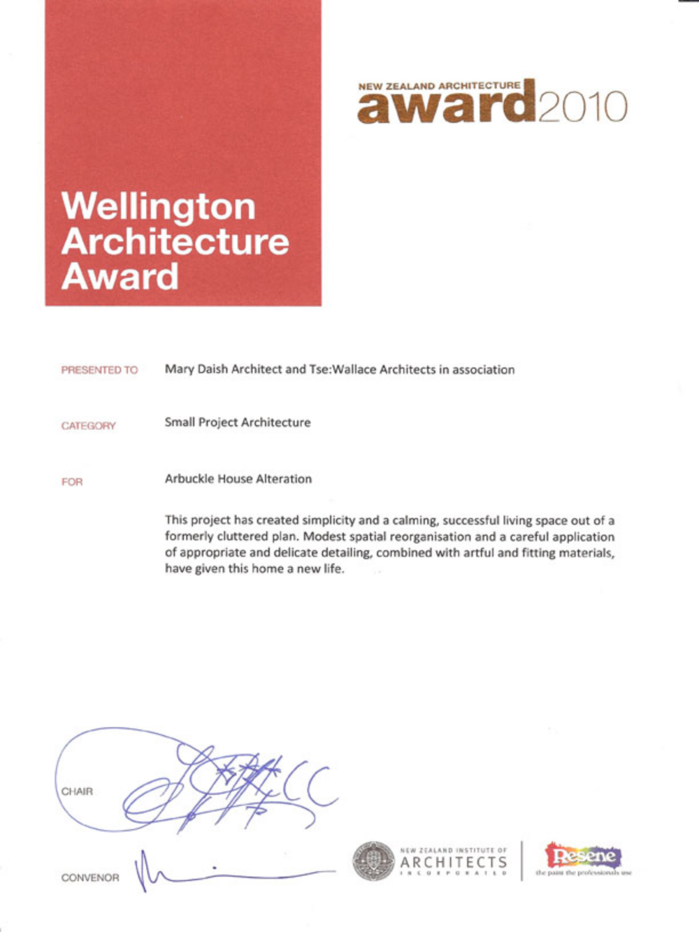 NZIA - New Zealand Institute of Architects Local Architecture Award 2010