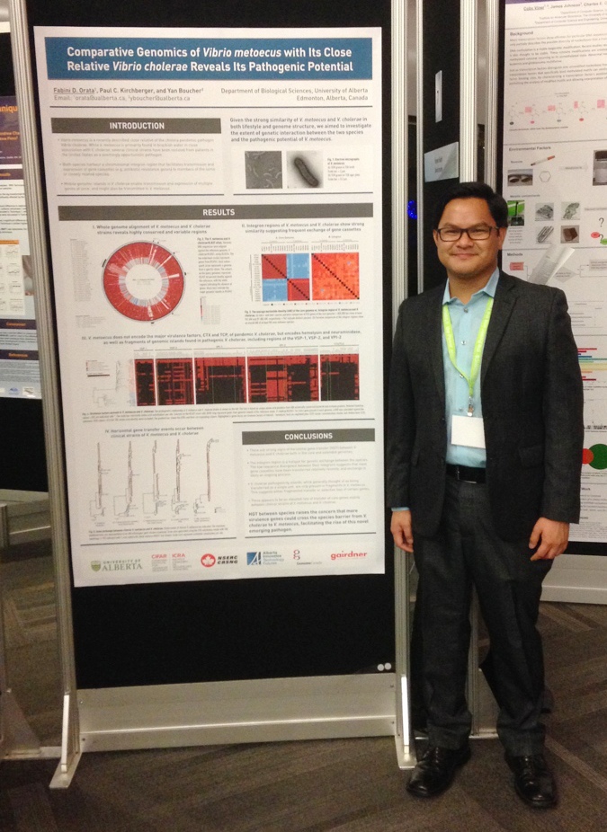 Fabini presenting his poster at the Genomics conference