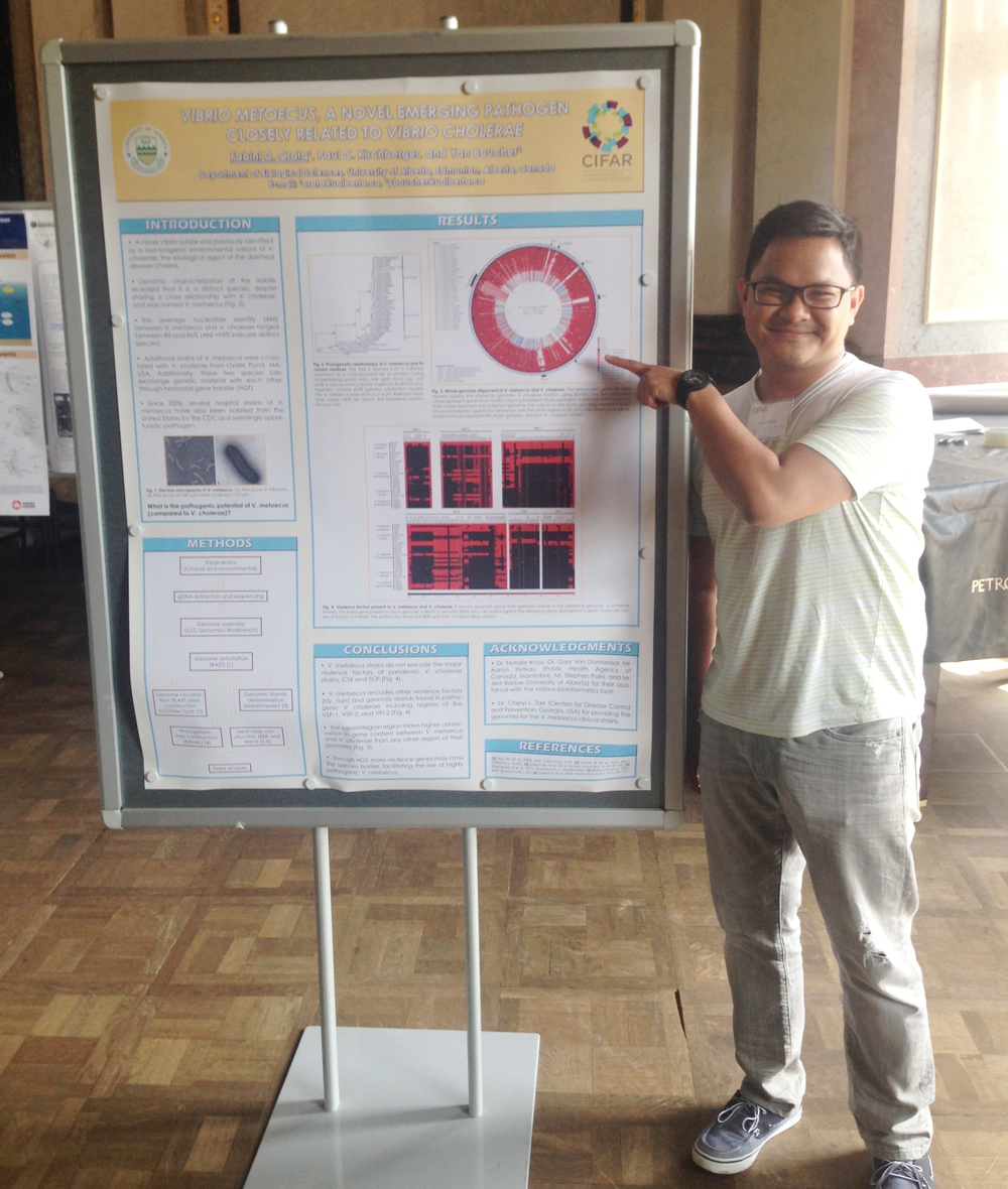 Fabini presenting his poster at the CIFAR conference