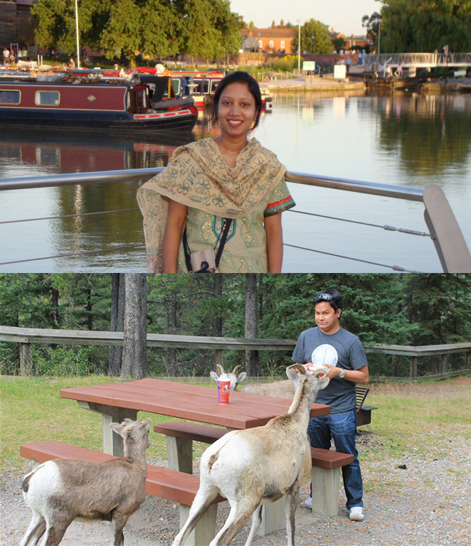 Tania (top) and Fabini attracting goats with KFC (bottom)