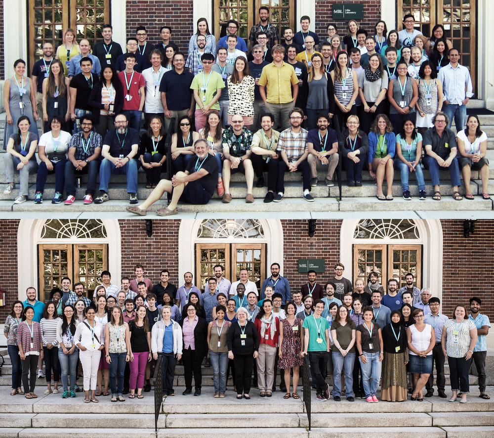Participants of the Workshop on Molecular Evolution (top) and Strategies and Techniques for Analyzing Microbial Population Structures (bottom) courses at the Marine Biological Laboratory in Woods Hole, Massachusetts