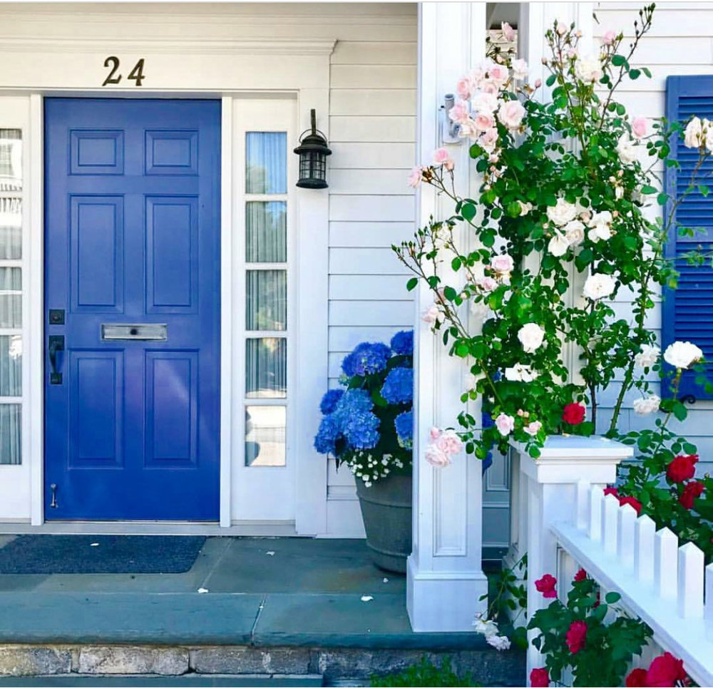 six panel front door in blue with hydrangeas and roses