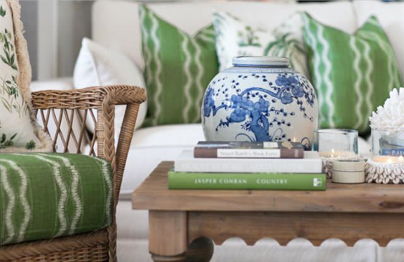 blue and white with green from Verandah House