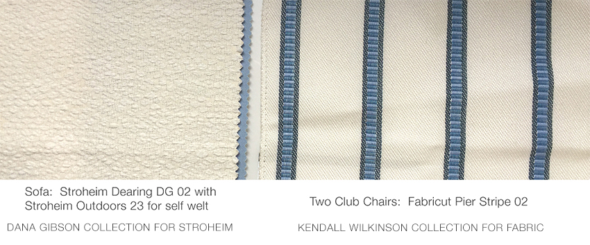 Blue and White performance fabrics from Stroheim and fabricut