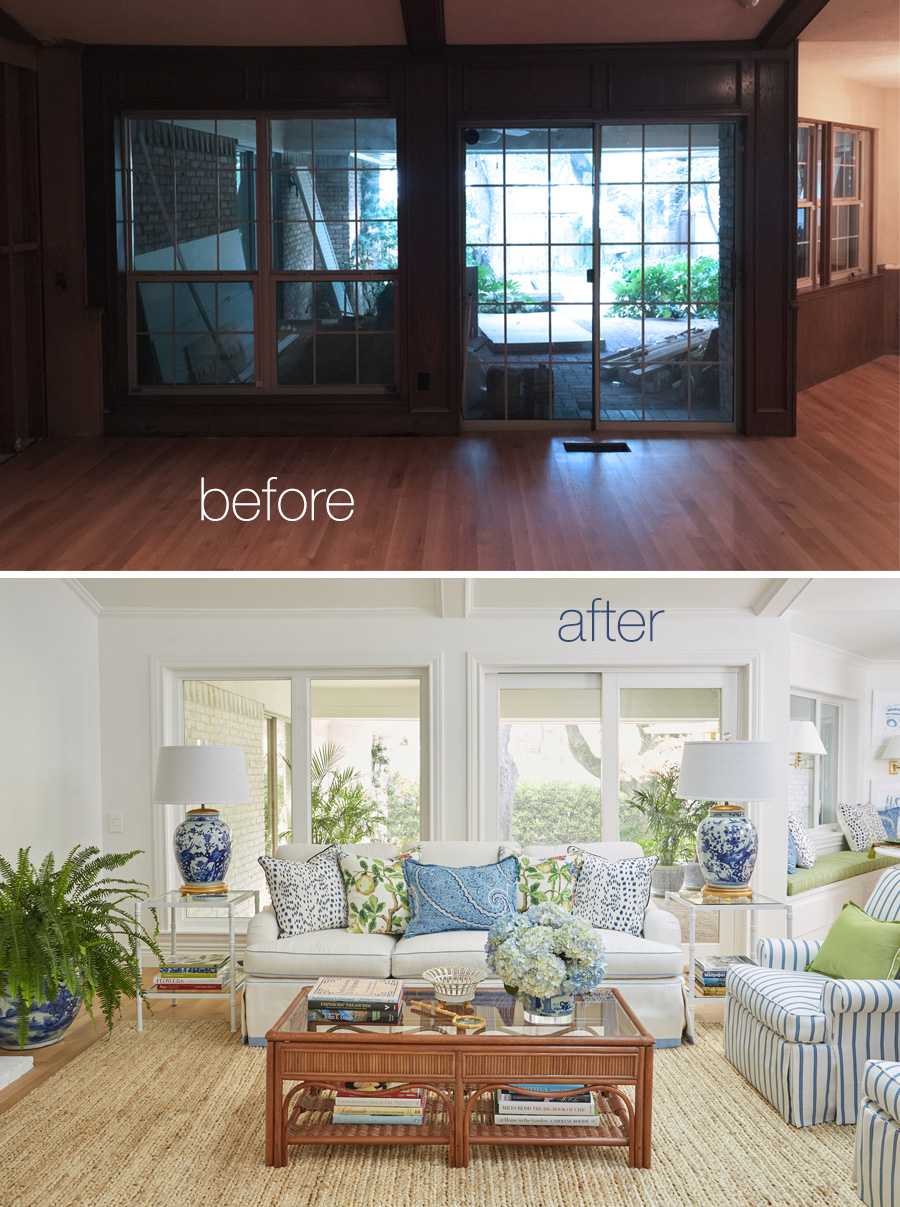 ranch home remodel annie selke ranch house makeover home redesign The Pink Pagodau0027s ranch house renovation for the One Room Challenge™.  Dramatic before and
