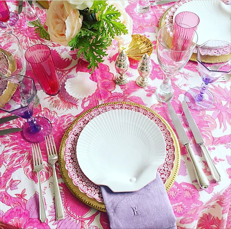 Spectacular tabletop in pinks and purples by Eddie Ross.