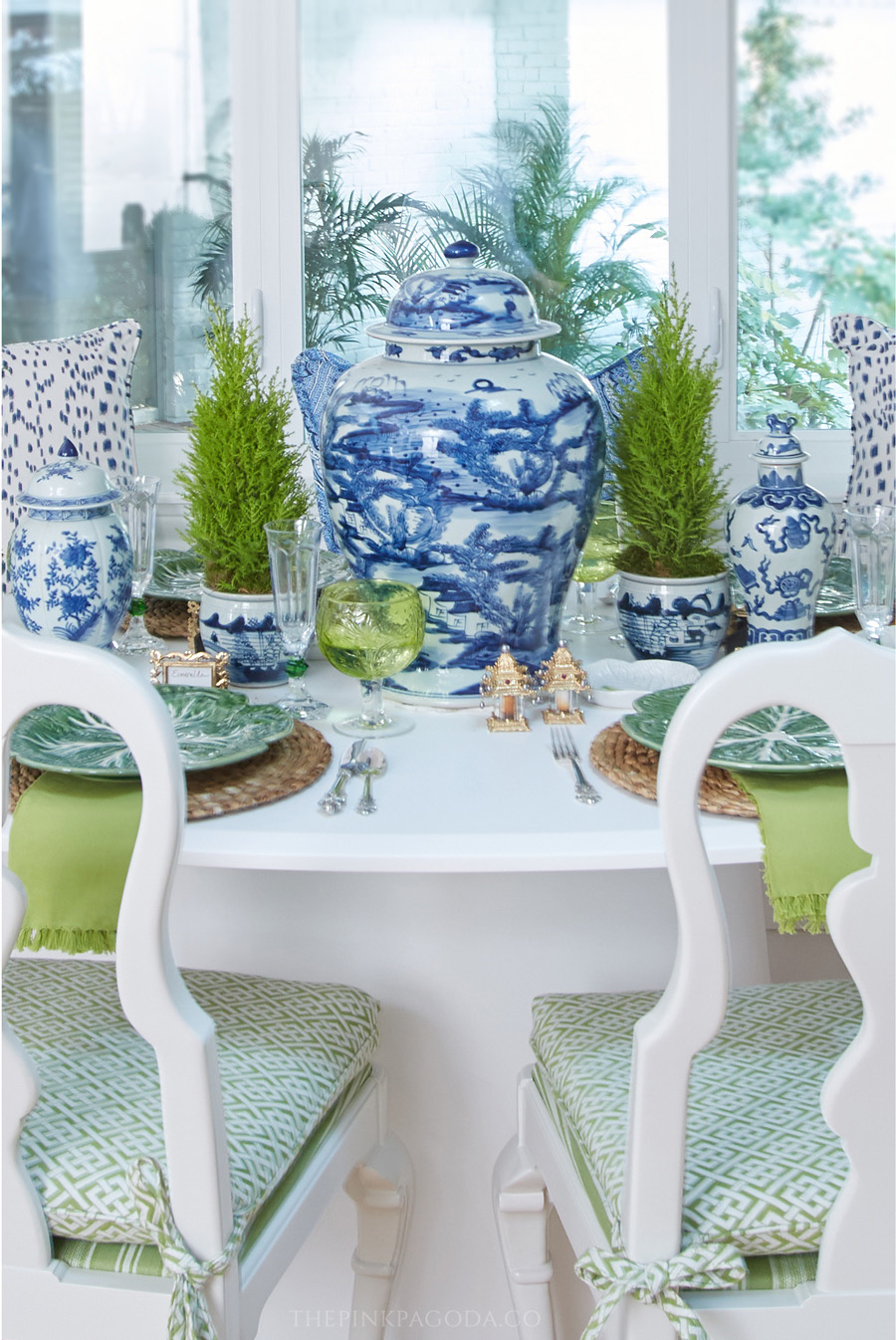 Tabletop styling by Susan Palma for The Pink Pagoda's fall 2017 One Room Challenge™ with lemon cypress topiaries and lots of blue and white.