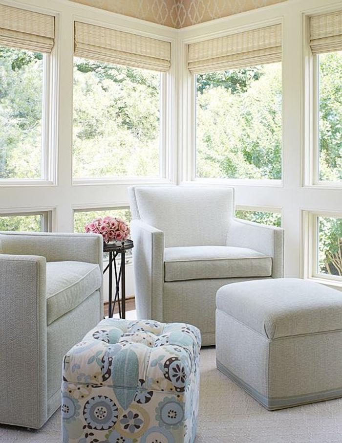 Single paned windows in a sunroom.