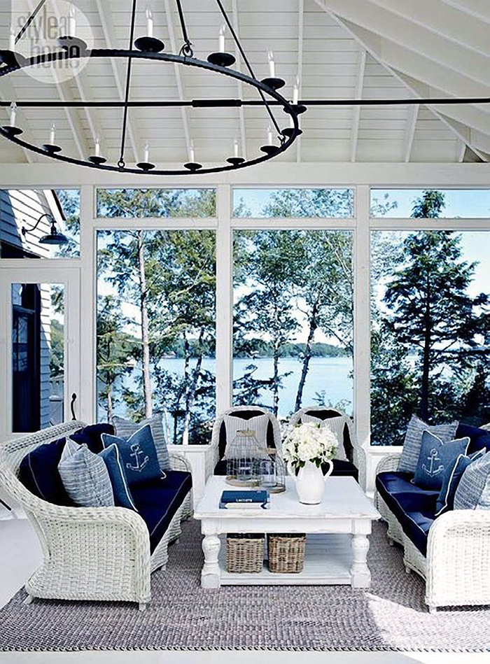Single paned windows in a nautical style sunroom.