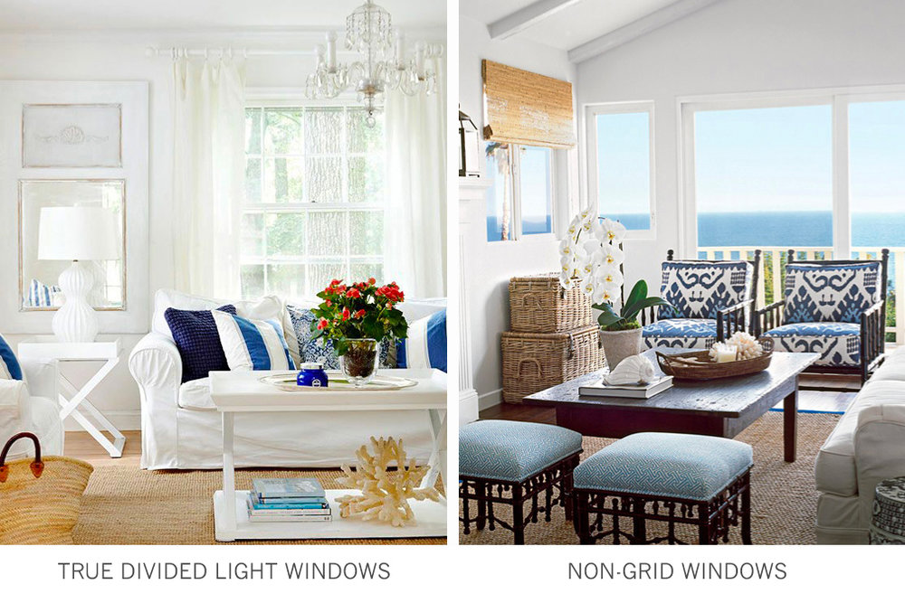 Window styles:  true divided light windows and non grid windows