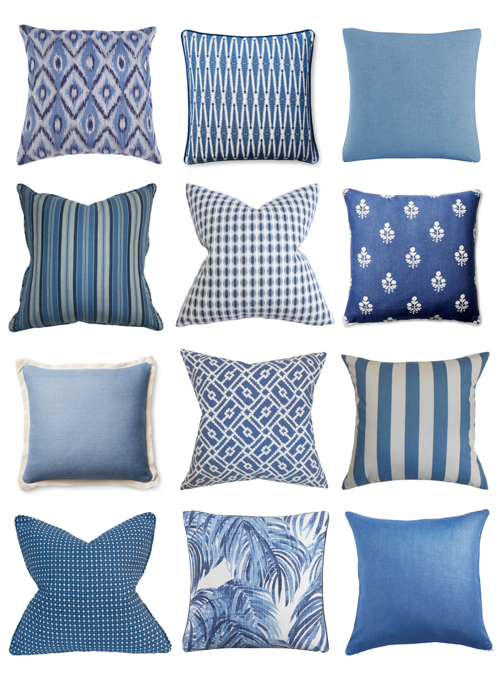 Twelve blue pillows to freshen your home for summer!