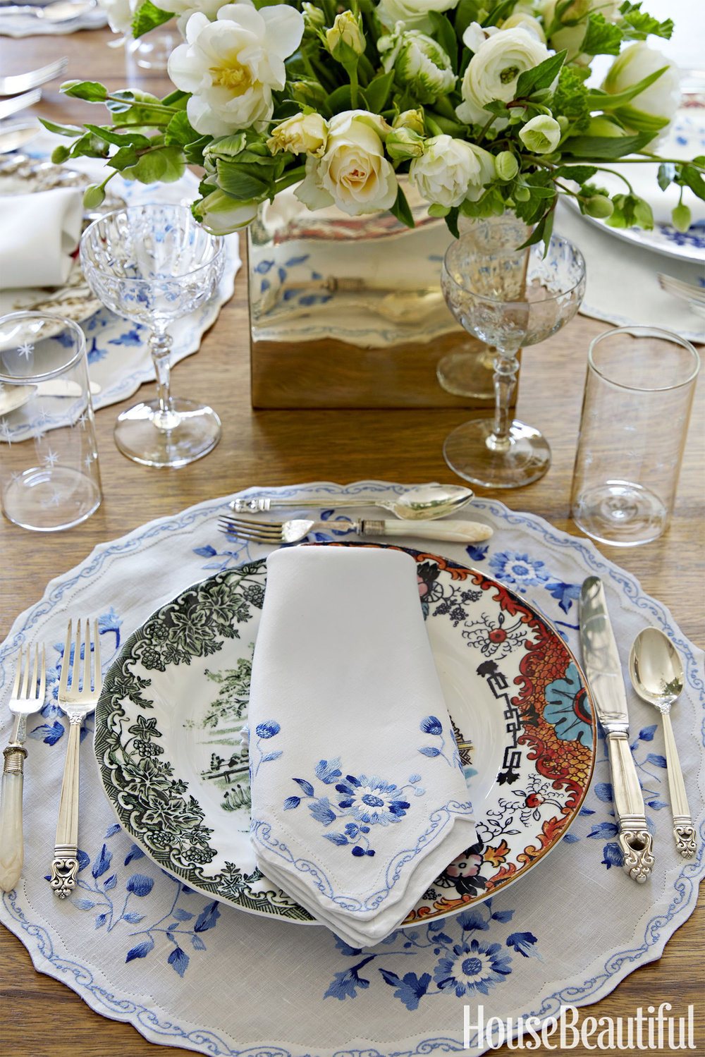 Gorgeous blue and white tabletop by Janet Gridley