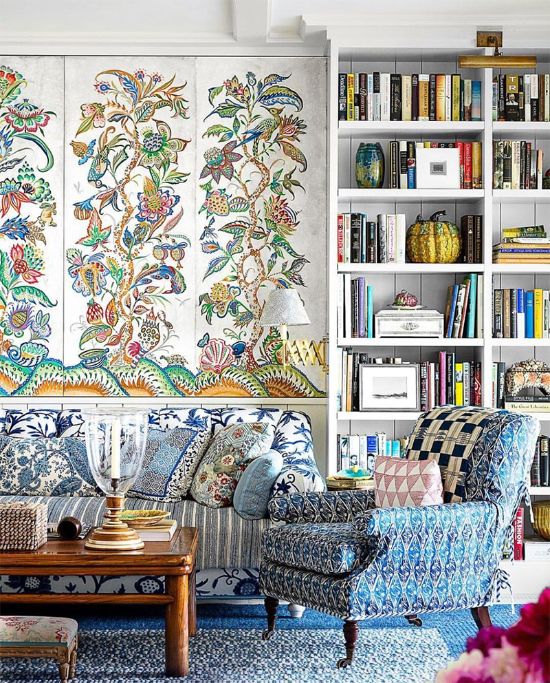 Not everyone could pull off all this pattern, but Markham Roberts does it masterfully in this Nantucket home.