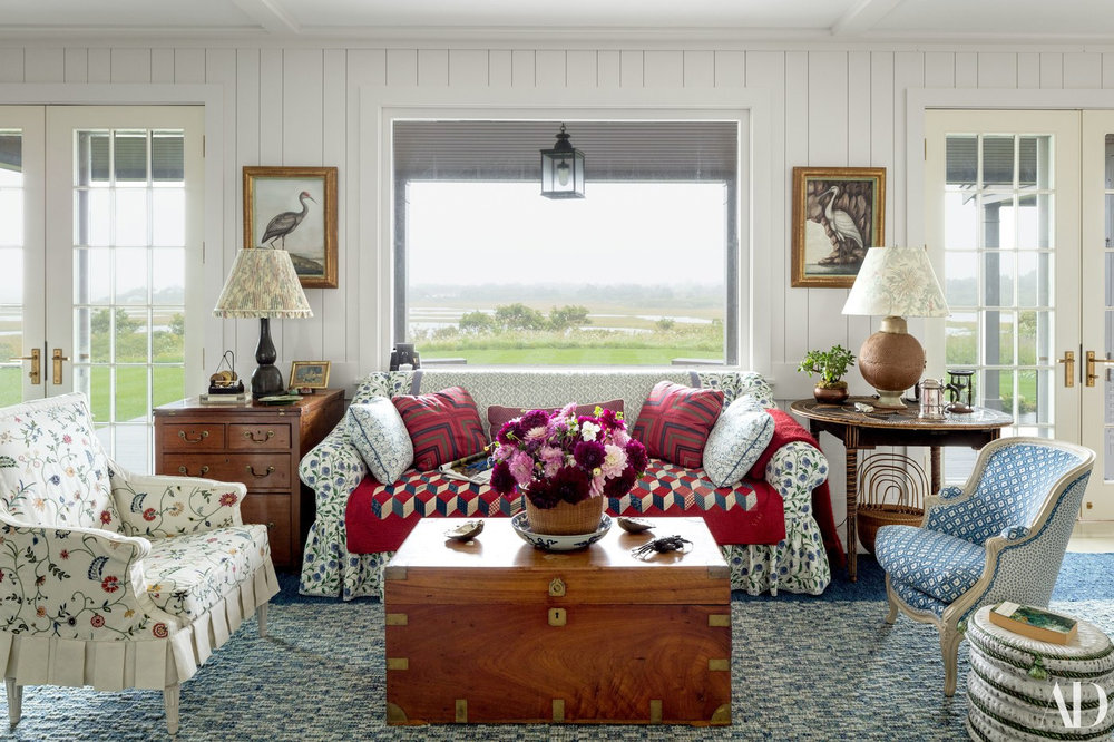 Loads of American style and charm in this living space designed by Markham Roberts.
