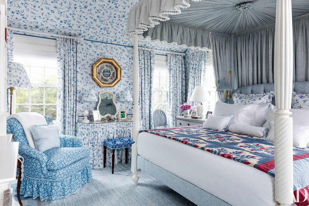Markham Roberts designed this all-American blue and white floral patterned Nantucket bedroom.