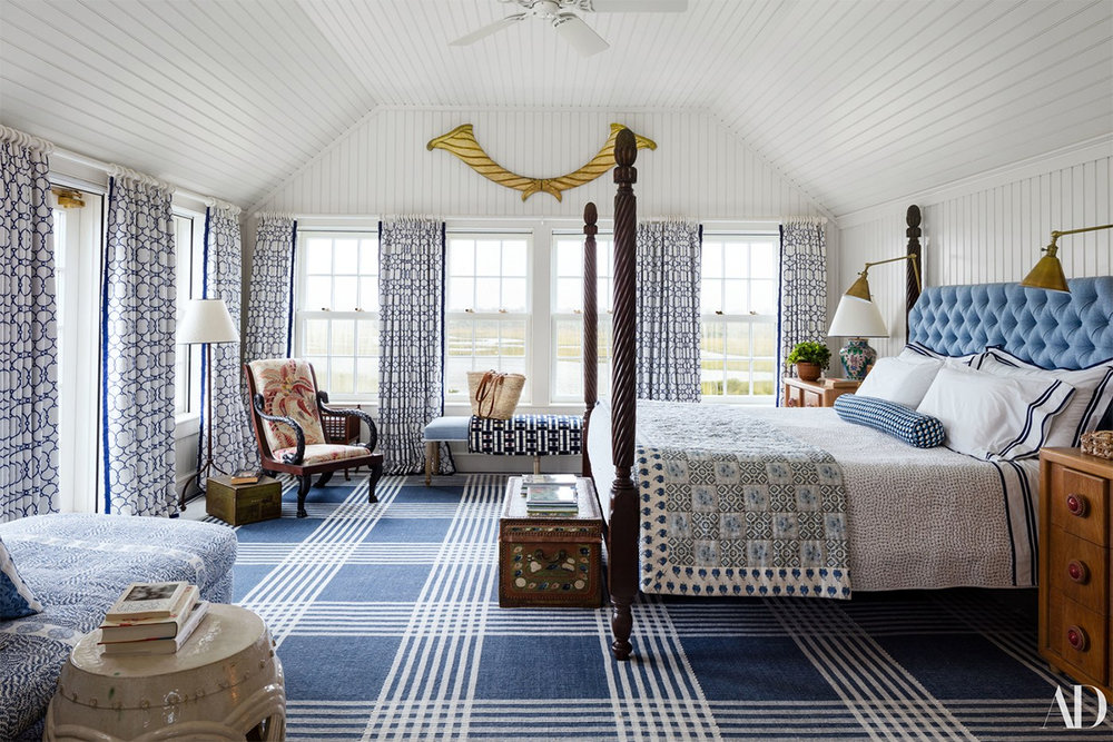 Markham Roberts designed this all-American blue and white Nantucket bedroom.