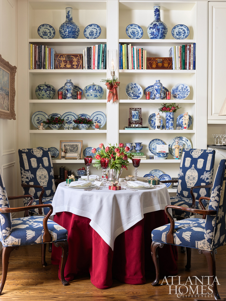 Atlanta interior designer, Judy Bentley, incorporates lots of gorgeous blue and white into her Christmas decor.
