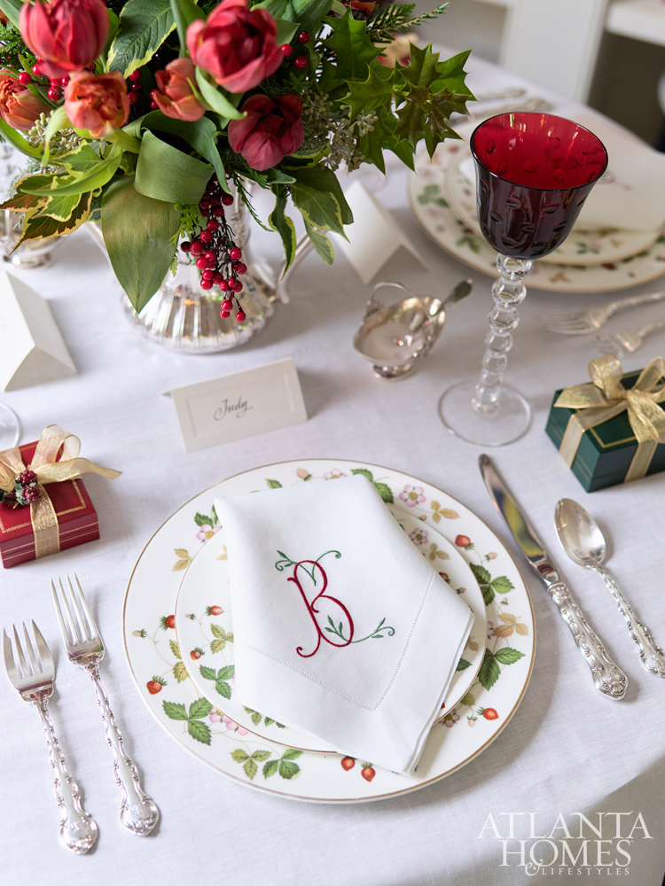 Atlanta interior designer, Judy Bentley's table is classically beautiful and perfect for Christmas.