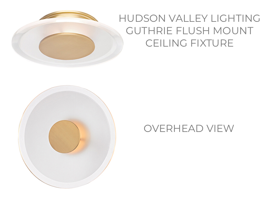 "Guthrie, from Hudson Valley Lighting, is a 13"" diameter flush mount ceiling fixture."