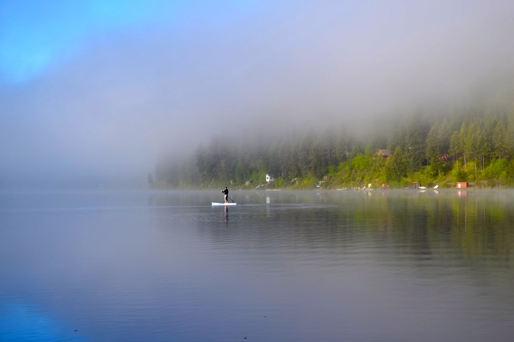 Morning fog just starting to burn off at Deep Lake