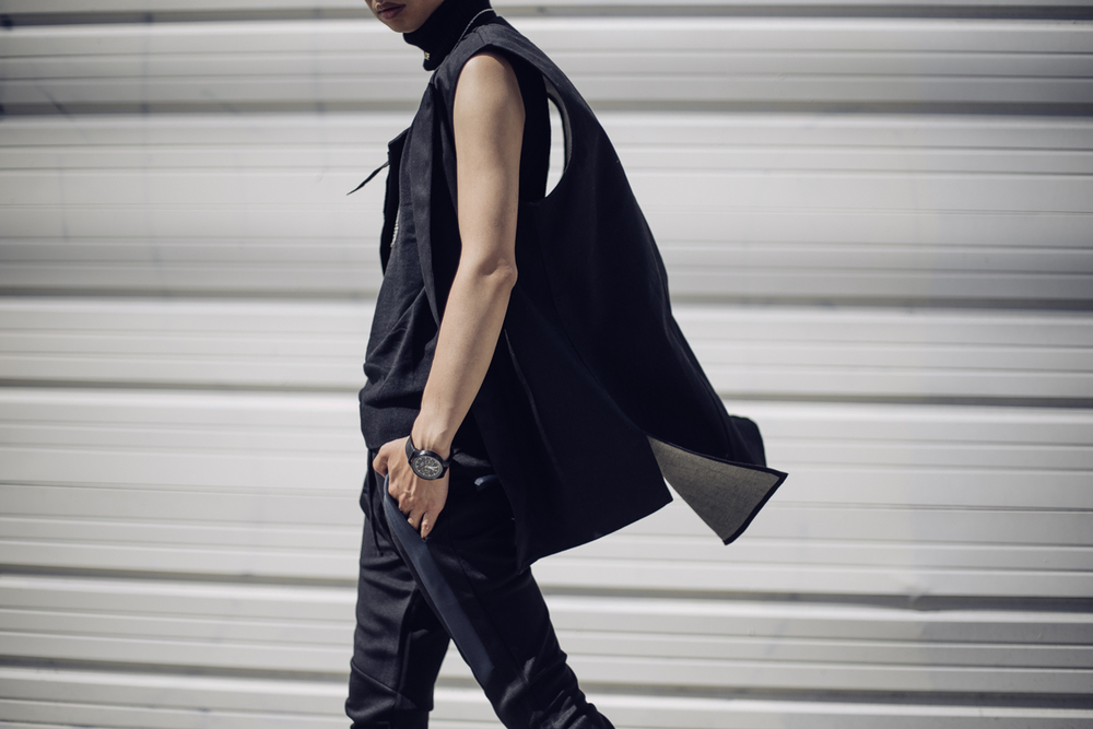 Stikeleather sleeveless vest, Triwa watch, Boohoo neoprene pants