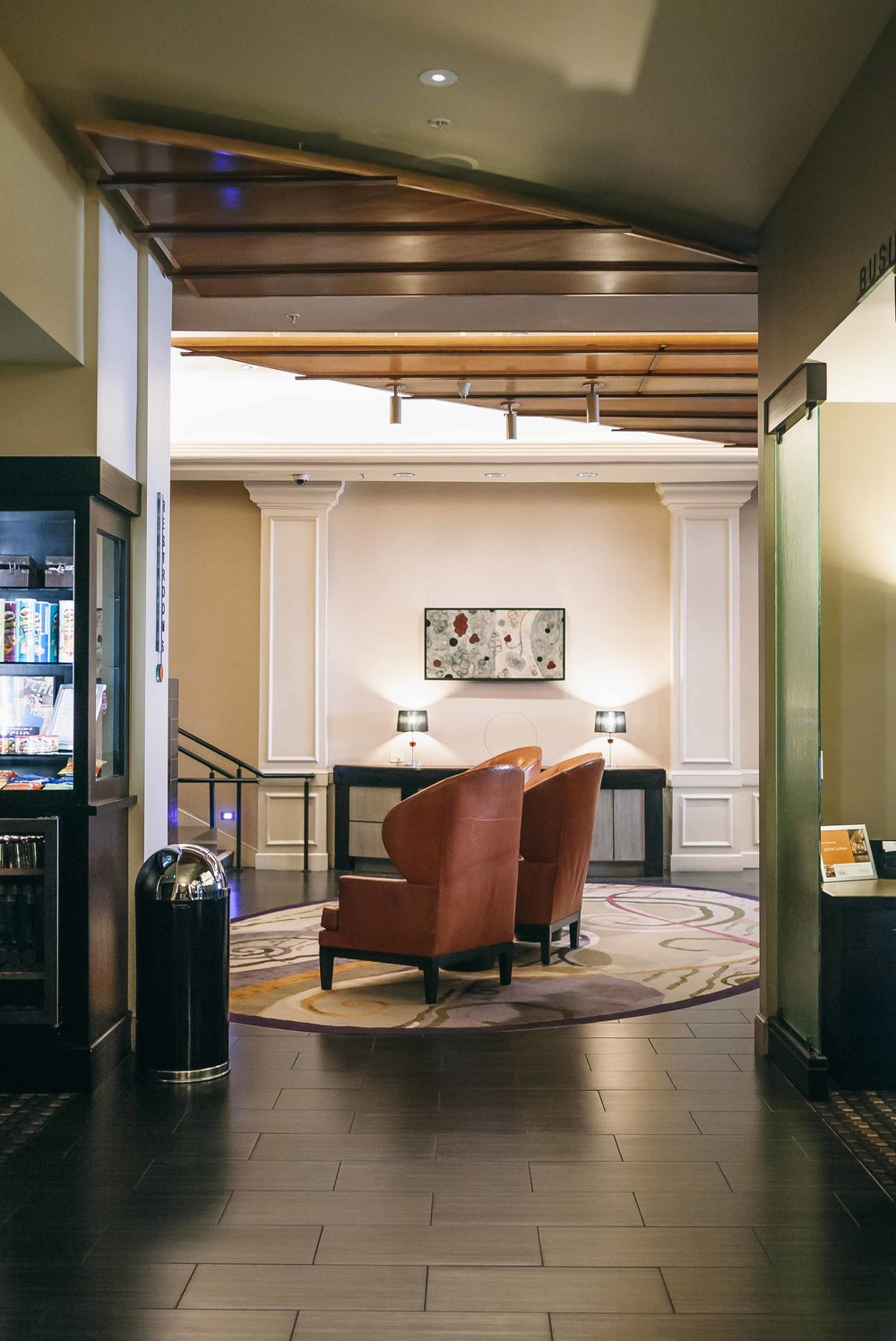 The expansive lobby area with high-beamed ceilings is such delightful sight as we came and go through the hotel. It also has a fully-stocked fridge with snacks + libations.