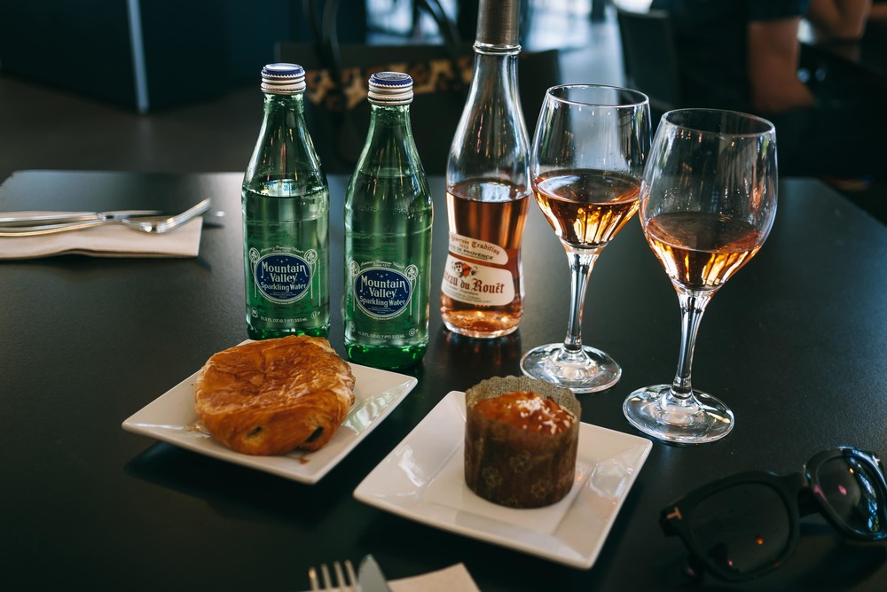 Starting our day at the Deyoung the right way:   Plenty of sparking rose + water with scrumptious pastries.